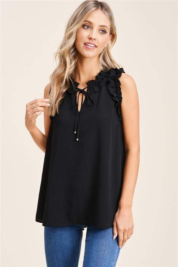 Katy Ruffle Sleeveless Blouse - Black