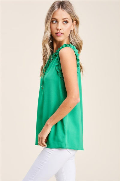 Staccato Dressy Katy Ruffle Sleeveless Blouse - Kelly Green