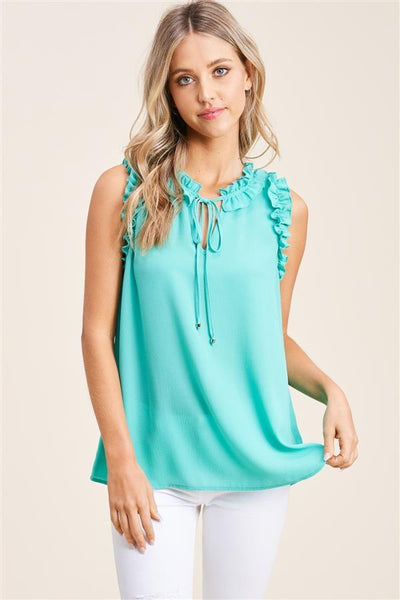 Staccato Dressy Katy Ruffle Sleeveless Blouse - Mint