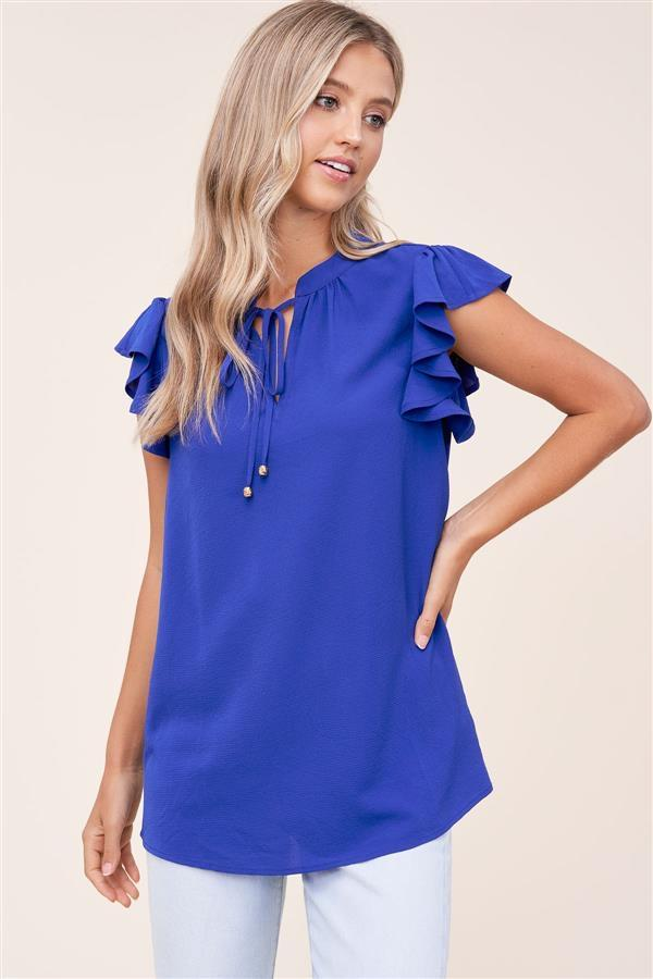 Reisal Ruffle Sleeveless Blouse - Royal Blue