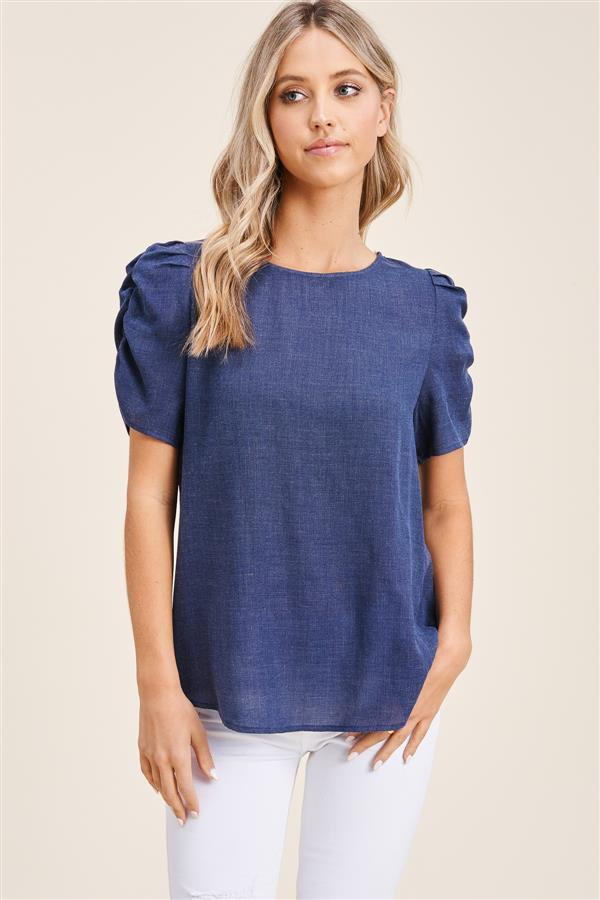 Round Neck Gathered Sleeve Blouse - Navy