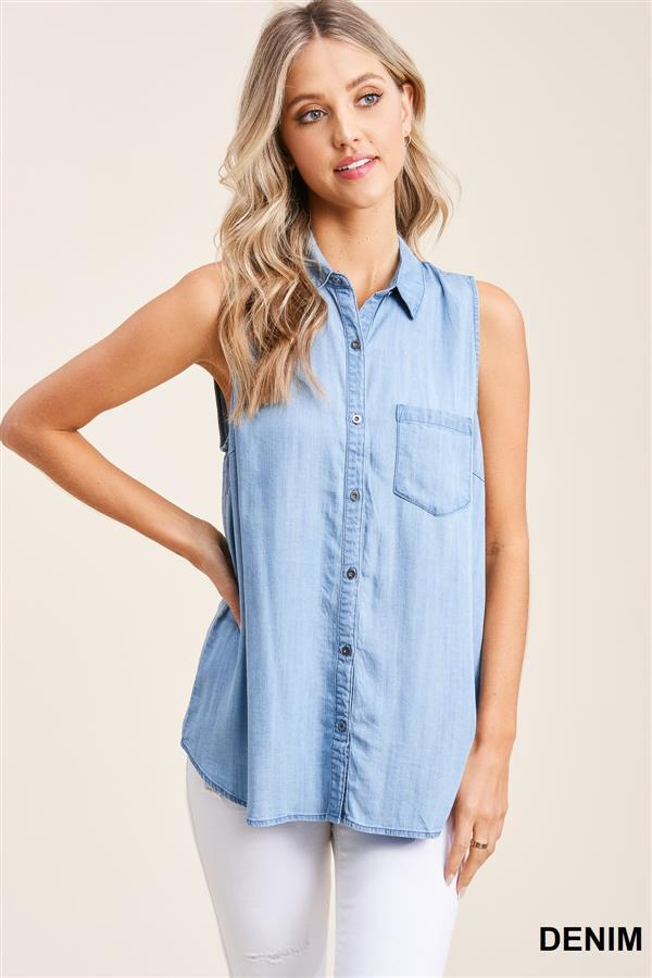 Washed Tencel Button Down Sleeveless Top - Denim