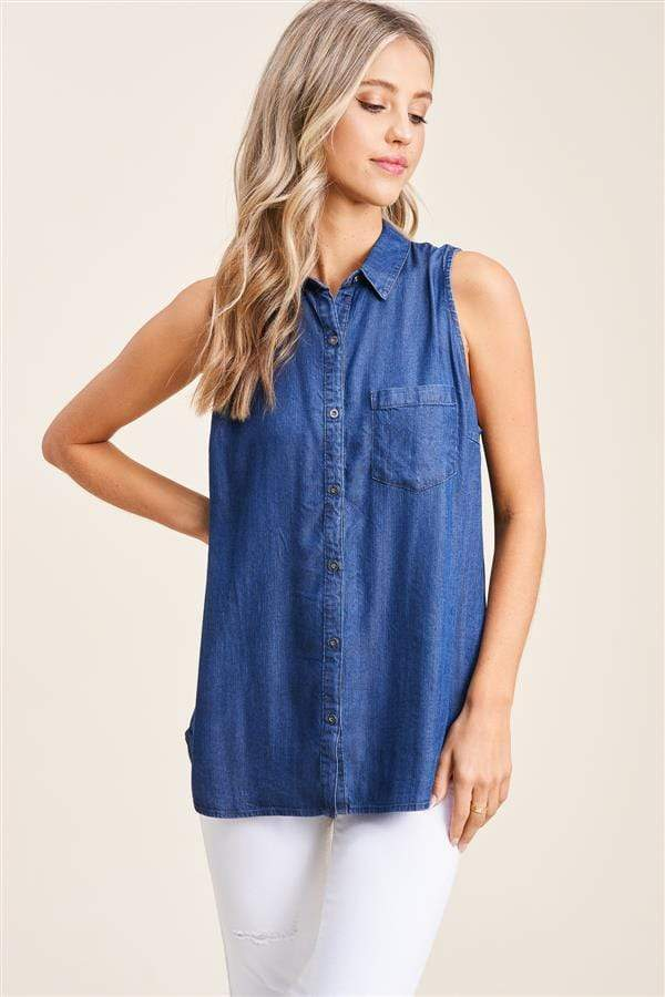 Washed Tencel Button Down Sleeveless Top - Medium Wash