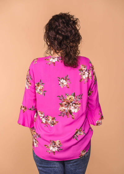 Staccato Dressy Wrap Front Floral Print Blouse - Turquoise & Fuschia