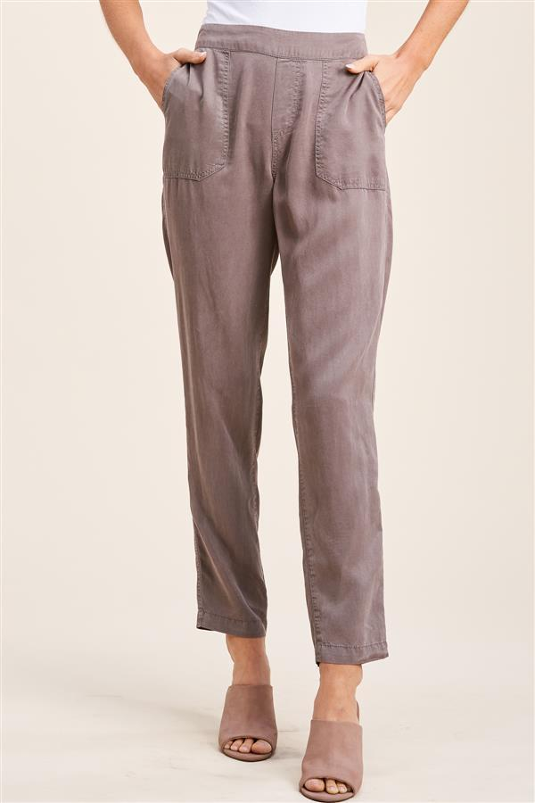 Staccato Full Length Elastic Waist Pants - Mocha