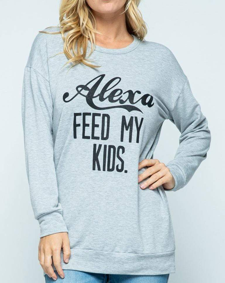 Sweet Claire Casual S Alexa Feed My Kids Top