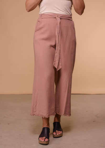 Thread and Supply Capris Mocha Frayed Hem Linen Wide Leg Ankle Pants