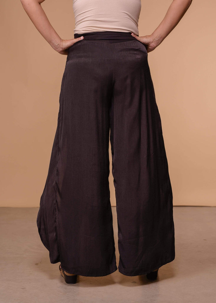 Thread and Supply Full Length Open Front Wide Leg Pants - Black