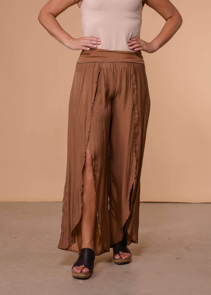 Thread and Supply Full Length Open Front Wide Leg Pants - Camel
