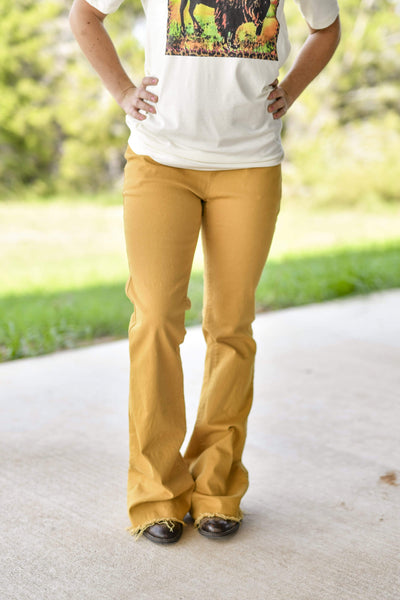 Turquoise Haven Full Length Flare Frayed Hem Pull On Jeans - Mustard