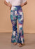 Turquoise Haven Full Length Palm Leaf Print Knit Flare Pants