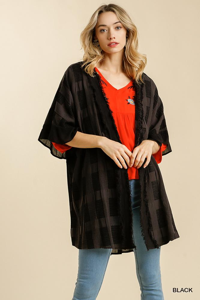 Amy Textured Half Sleeve Kimono With Frayed Edge - Black