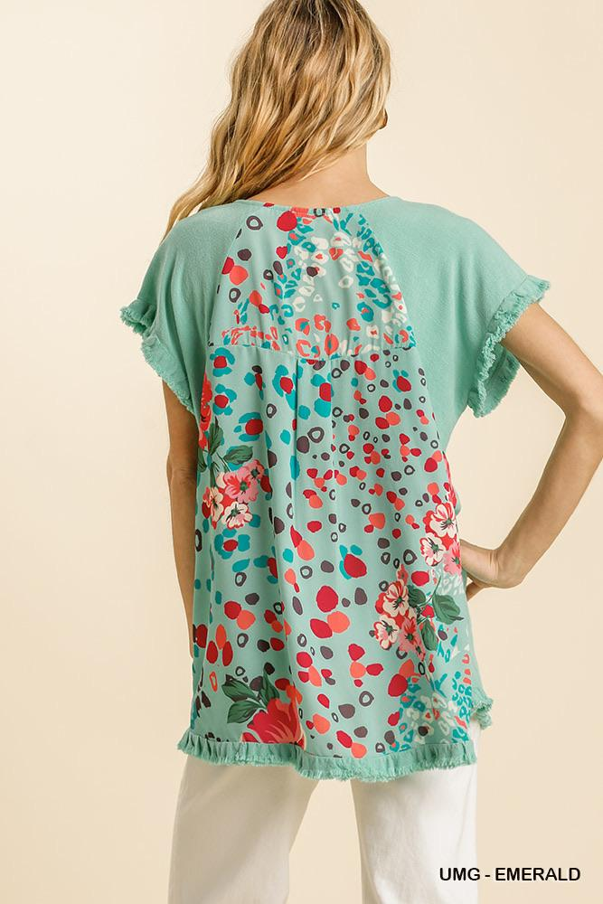 Lola Linen Animal Print Blouse - Emerald Mint