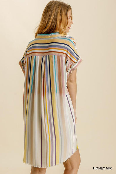 Umgee Dresses Bama Bleached Striped Short Sleeve Dress