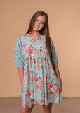 Umgee Dresses Floral Babydoll Dress - Mint