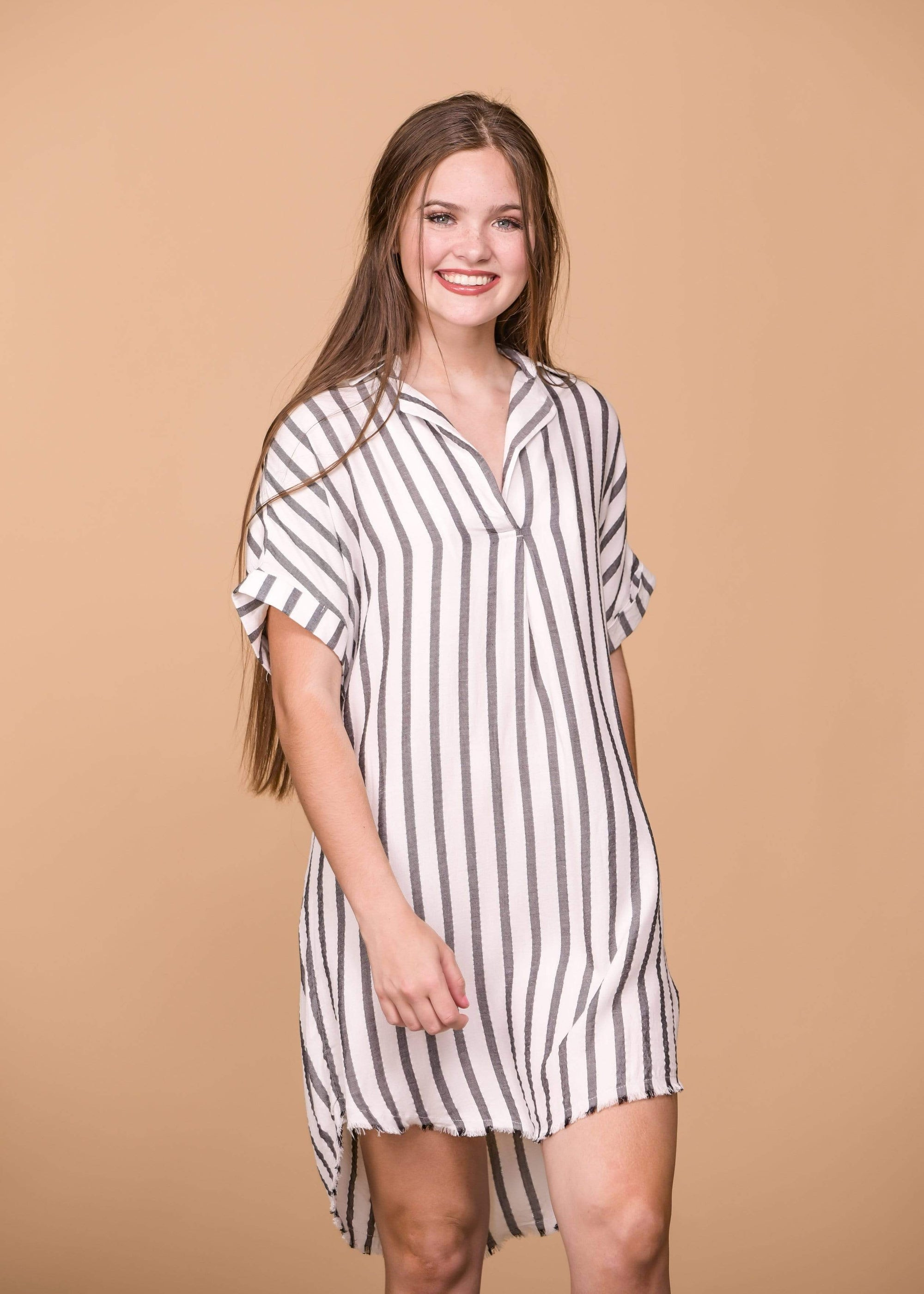 Umgee Dresses Striped Metallic V-Neck Dress