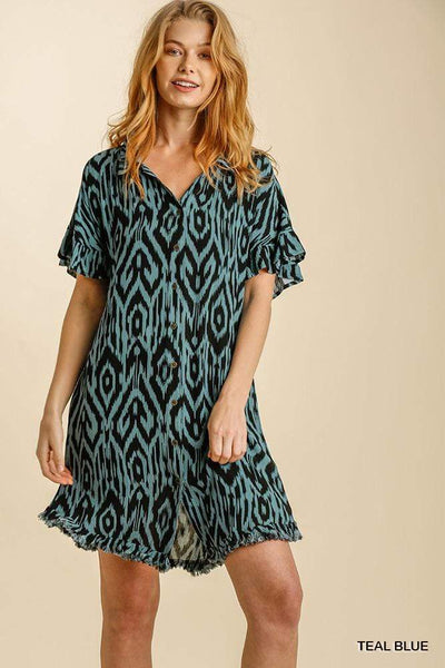Umgee Dresses Teal Blue Button Down Shirt Dress