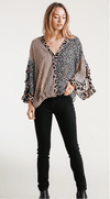 Umgee Dressy Arita Sheer Multi Animal Print Blouse