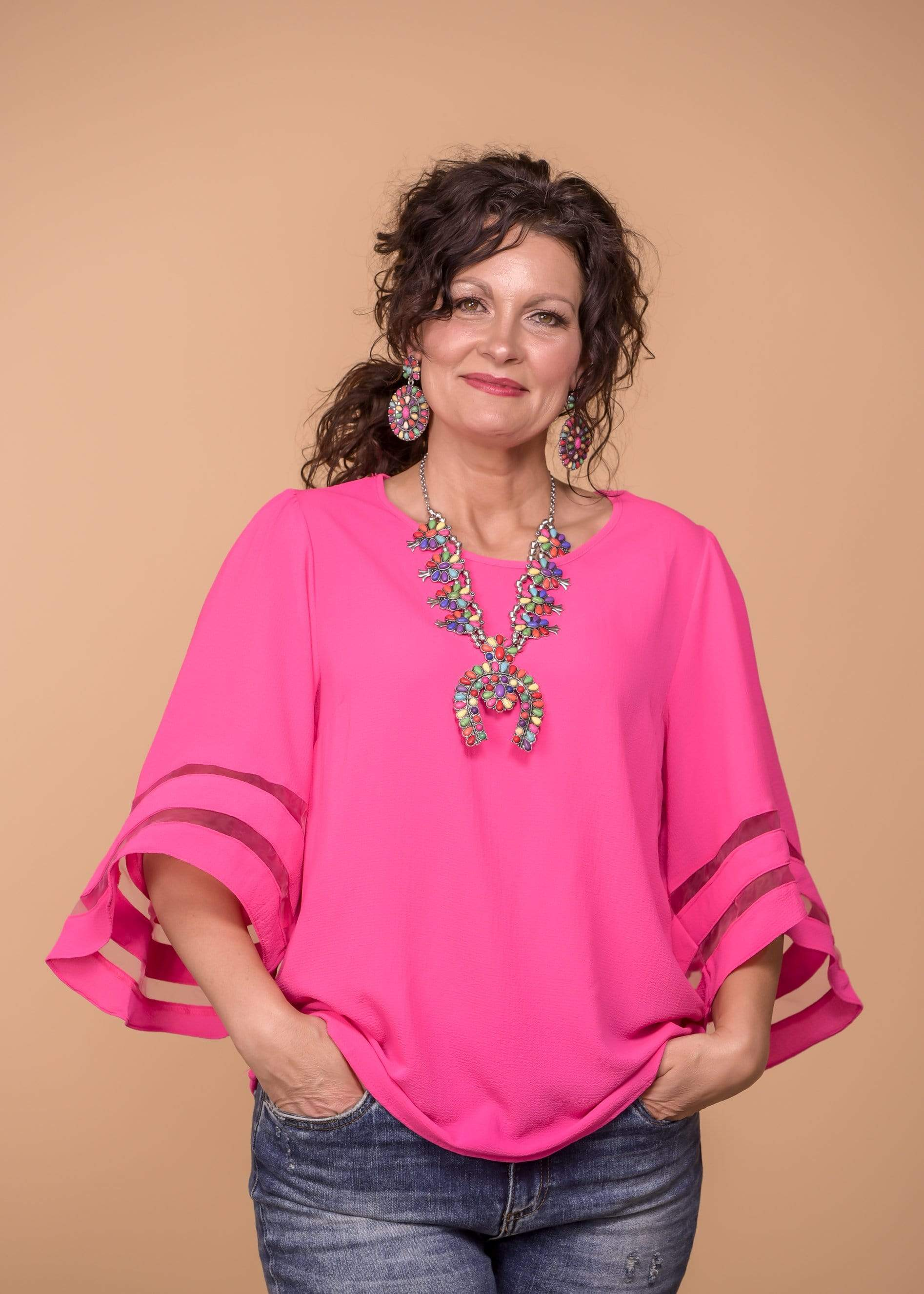 Umgee Dressy Bell Sleeve Top - Hot Pink