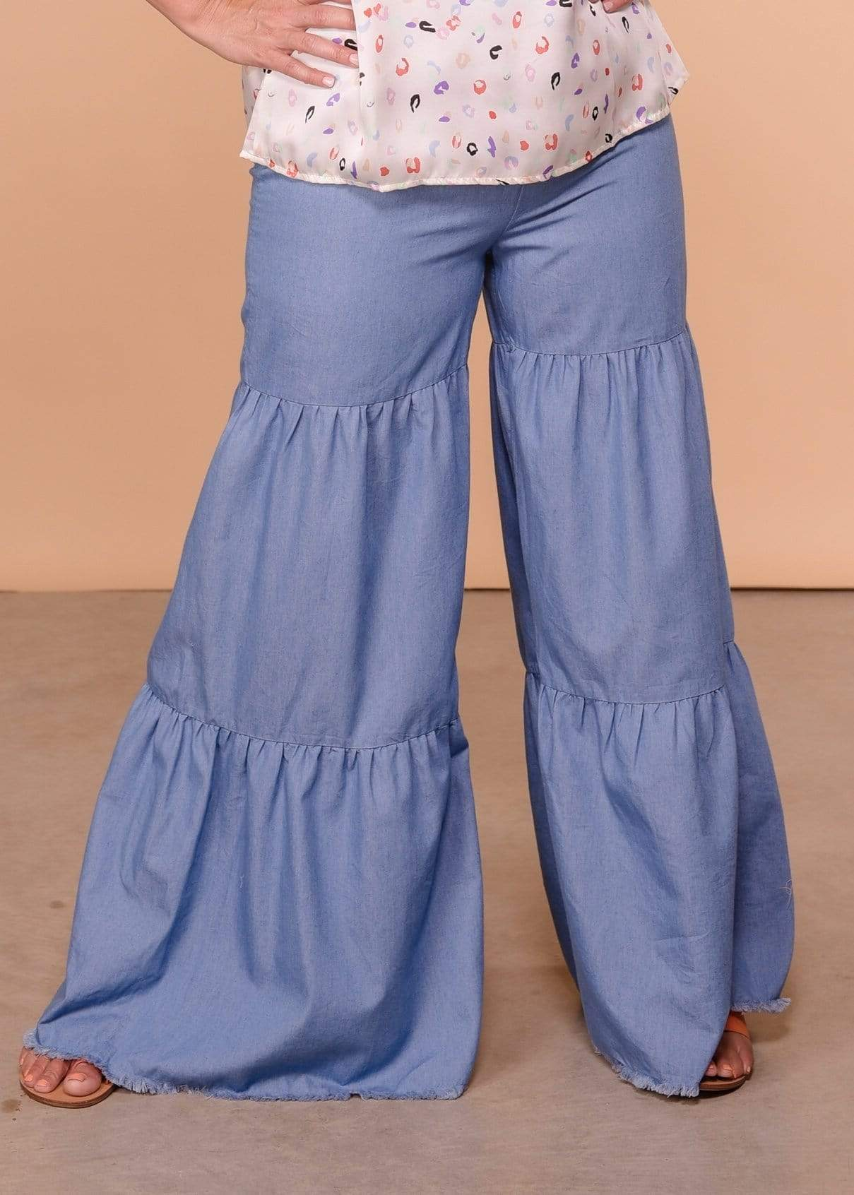 Umgee Full Length High Waist Ruffle Leg Pant