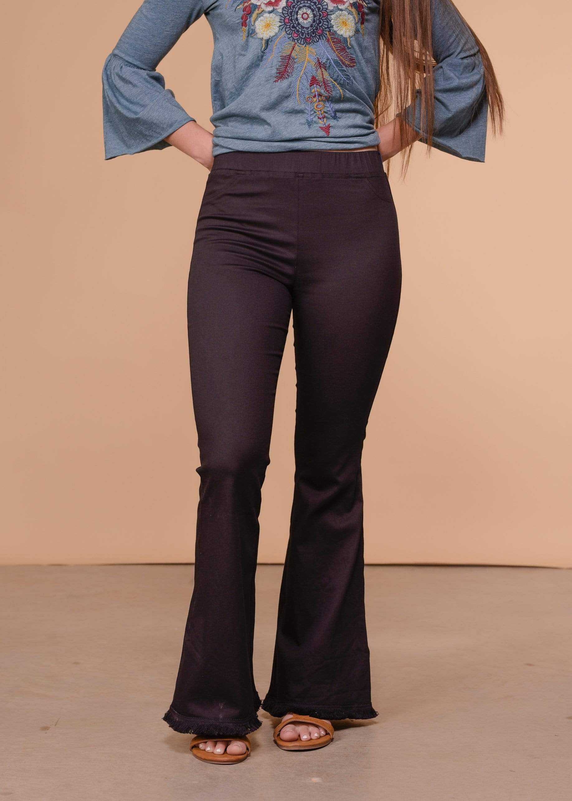 Umgee Full Length Wide Flare Leg Pant - Black