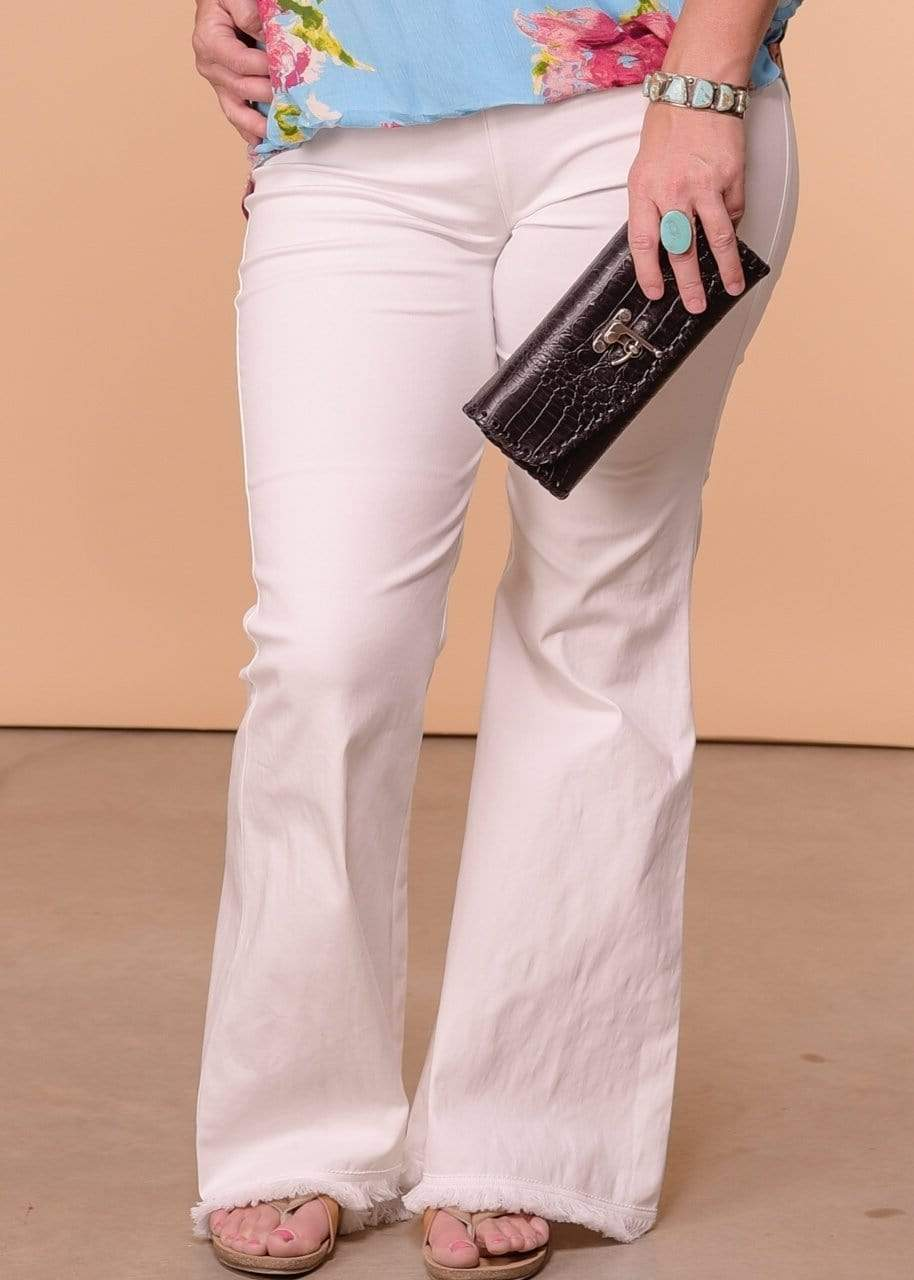 Umgee Full Length Wide Flare Leg Pant - Off White