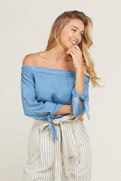 Wishlist Casual Daisy Denim Tie Blouse