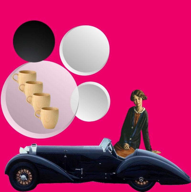 5x5 Coffee Card * Lady Classic Car