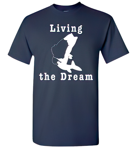 01010101 Living the Dream Fishing T-Shirt