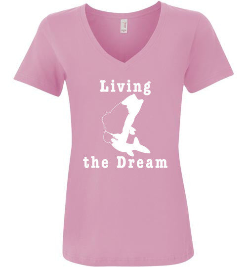 01010102 Living the Dream Woman's Fishing T-Shirt
