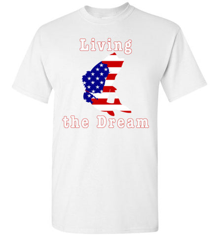01010201 Living the Dream Patriotic Fishing T-Shirt