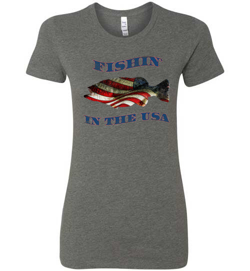 07010202 Fishin' In the USA Woman's Fishing T-Shirt