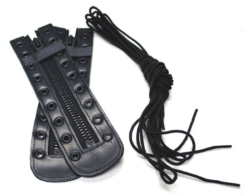 PAIR OF ZIPPERS AND LACES FOR FIRE BOOTS