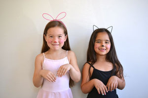 quickie Halloween costumes: bunny and kitty