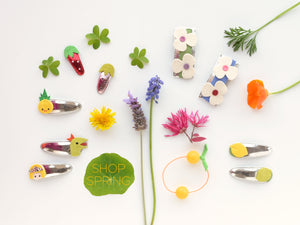 new spring hair clips: flowers, bugs, juicy fruits and more!
