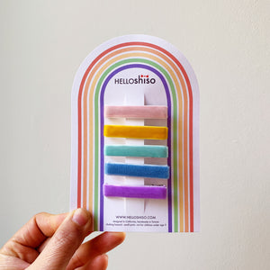 velvet rainbow clips // hello shiso hair accessories for girls