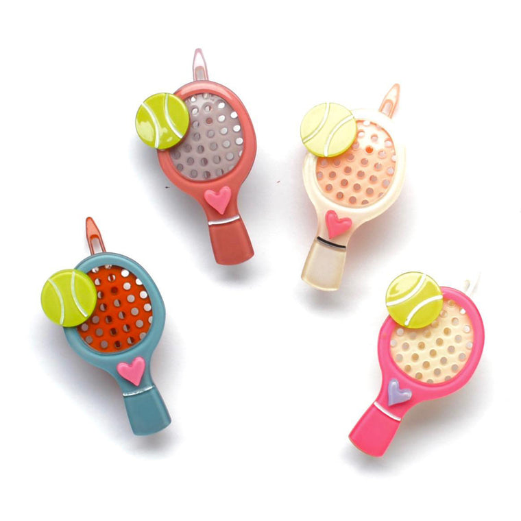 acrylic tennis racquet clip // hello shiso hair accessories for girls