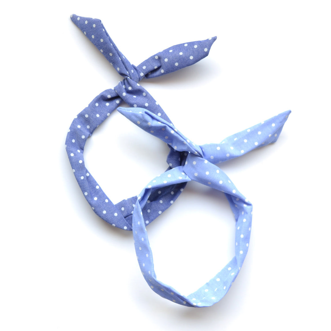 denim polka dot twist tie // hello shiso hair accessories for girls