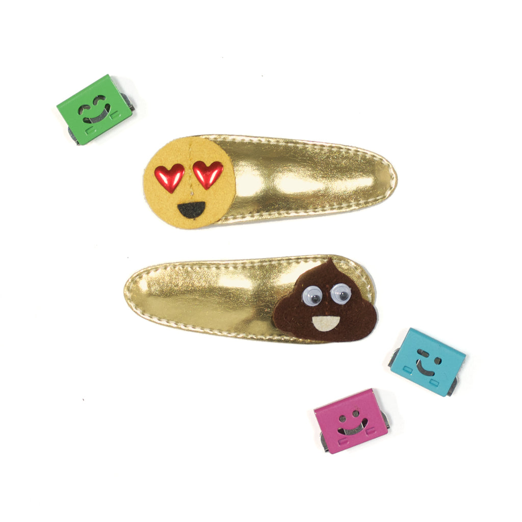 emoji snap clips  //  hello shiso hair accessories for girls