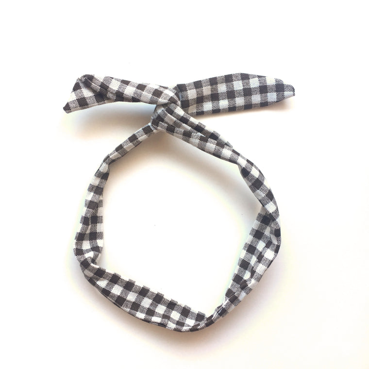 hello shiso hair accessories for girls // gingham twist headband