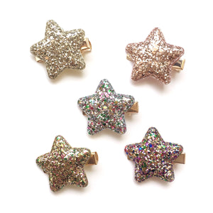 glitter puff star clip // hello shiso hair accessories for girls