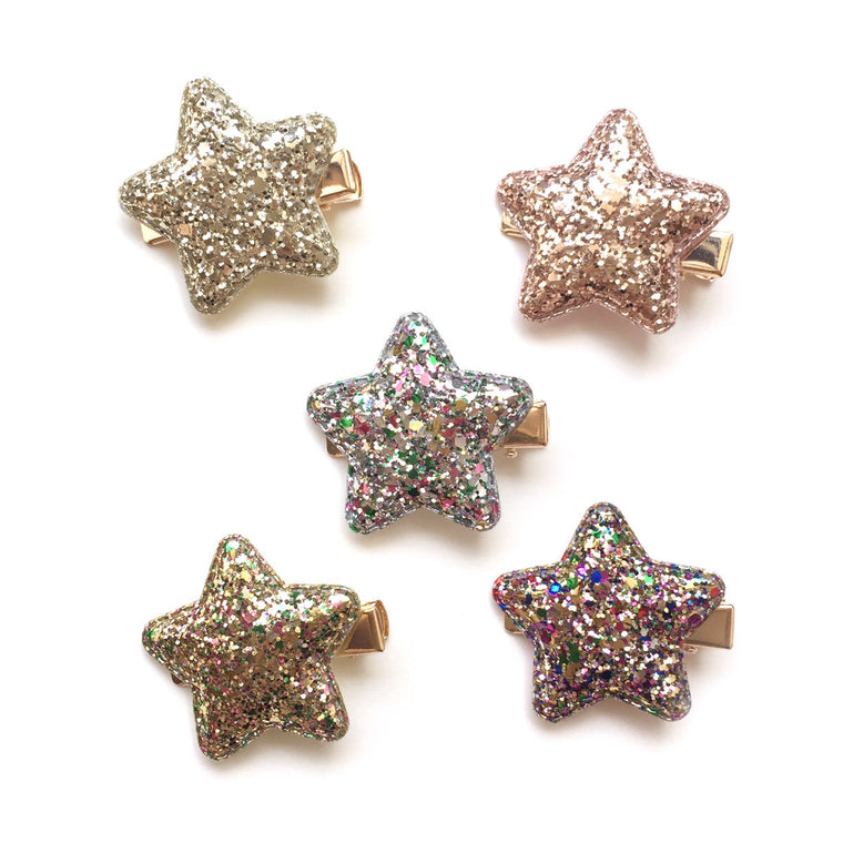 glitter puff star clip // hello shiso accessories for girls