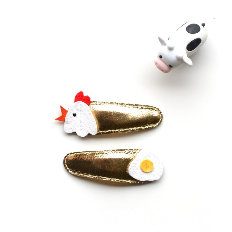 chicken + egg clips // hello shiso hair accessories for girls