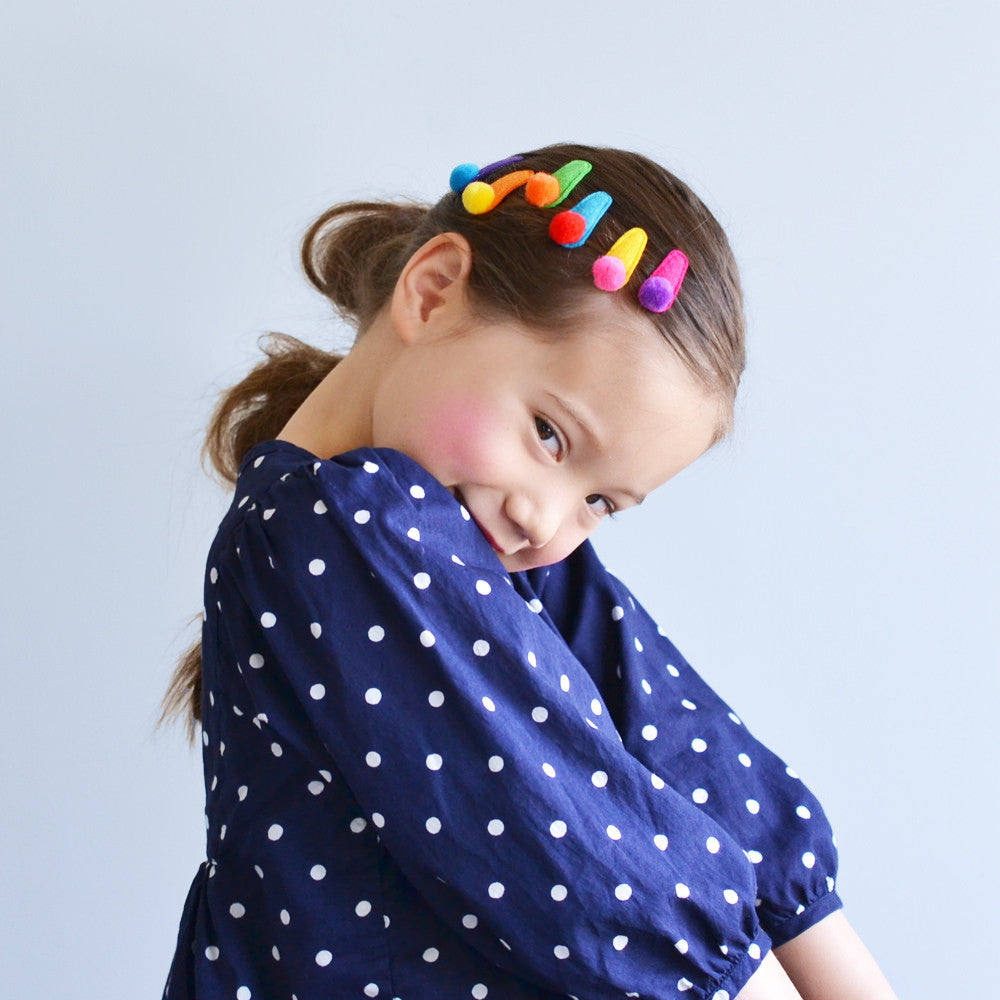 felt rainbow pompom clips // hello shiso hair accessories for girls