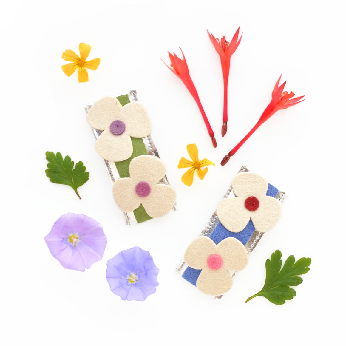 hello shiso accessories for girls // field of flower snap clips
