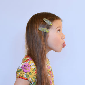 green cork clips // hello shiso hair accessories for girls