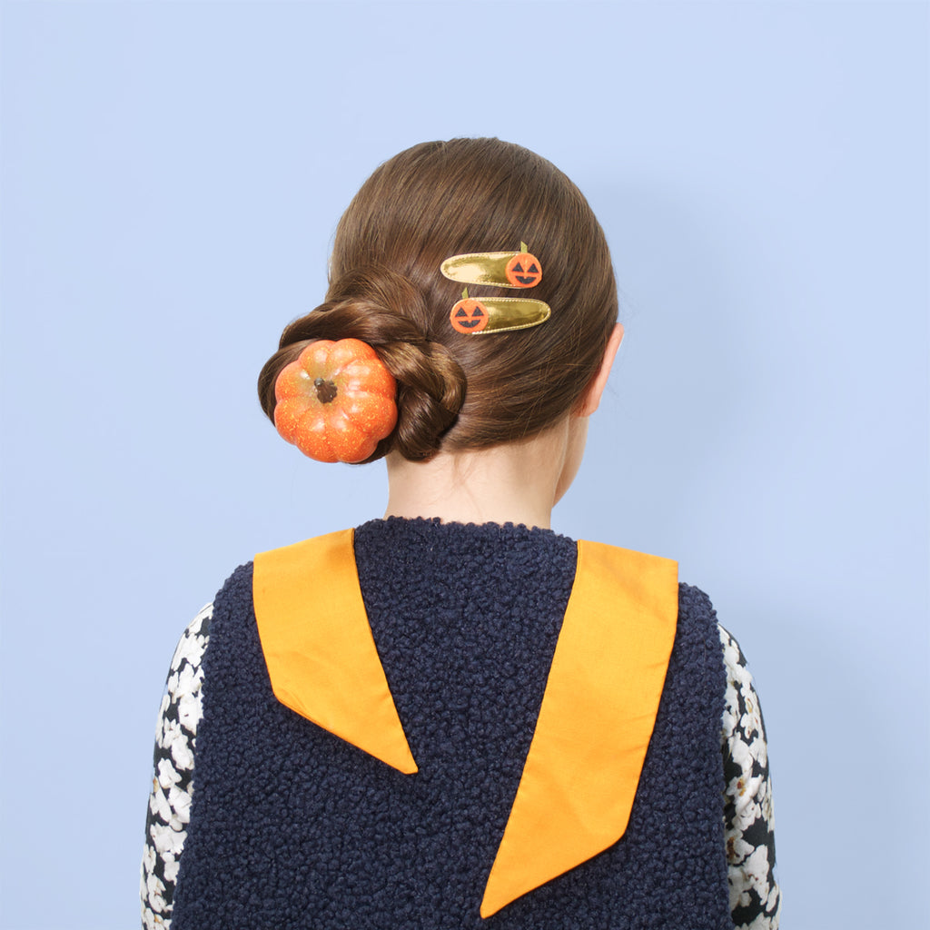 jack o'lantern snap clips  // hello shiso hair accessories for girls
