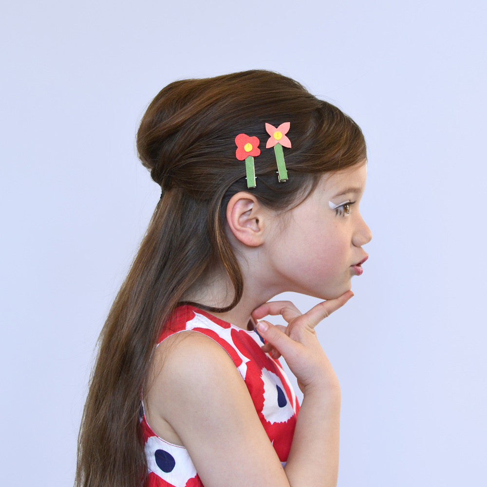 mod flower clips // hello shiso hair accessories for girls