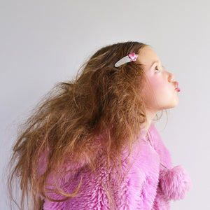 pink poodle clips // hello shiso hair accessories for girls