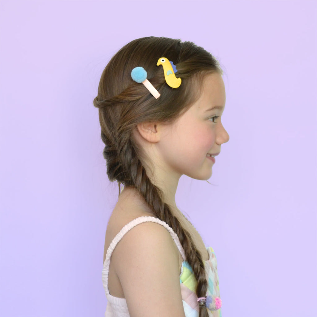 seahorse pom clips // hello shiso hair accessories for girls